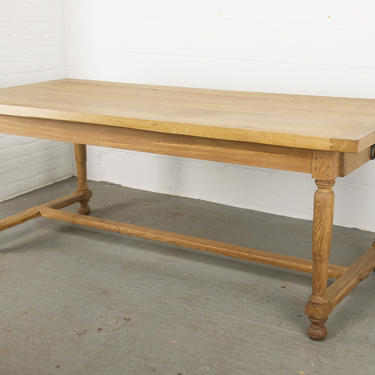 Antique Country French Tiger Oak Farmhouse Trestle Dining Table. Harvest Table. Breakfast Table. by StandOutSpaces