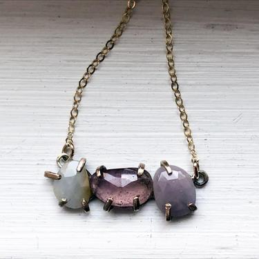 Peony Pendant in Rose cut sapphires pinks and whites three stone prong pendant by RachelPfefferDesigns