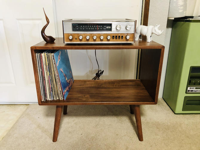 Mid Century Modern Record Player Stand Solid Maple by OrWaDesigns