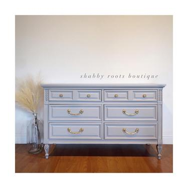 NEW! Darling vintage 6-drawer chest of drawers light gray / grey dresser or changing table in nursery. San Francisco CA by ShabbyRootsBoutique