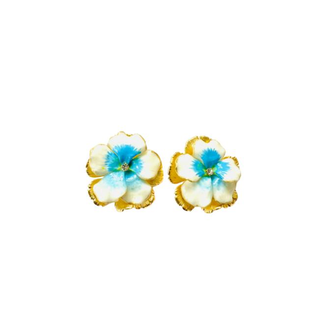 The Pink Reef hand painted white pansy stud