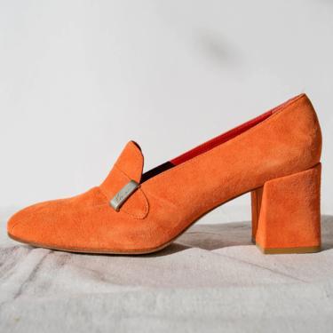 Vintage 90s KENZO Sherbet Orange Block Heel Shoes w/ Matte Silver Logo Strap   Made in Spain   Size 7   UNWORN   1990s French Designer Pumps by TheVault1969