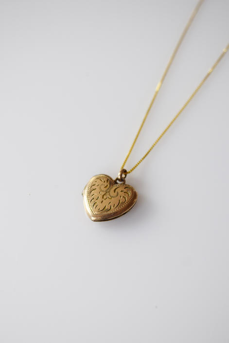 Antique Gold Fill Heart Locket | Scrolled Engraving by wemcgee