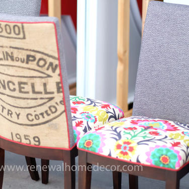 """Custom Order - Upholstered Parson Dining Chairs - SET of 2 -""""French Parson Dining Chairs""""- Adelante Ikat seat cushion pair -Price per Pair by ReNewalHomeDecor"""