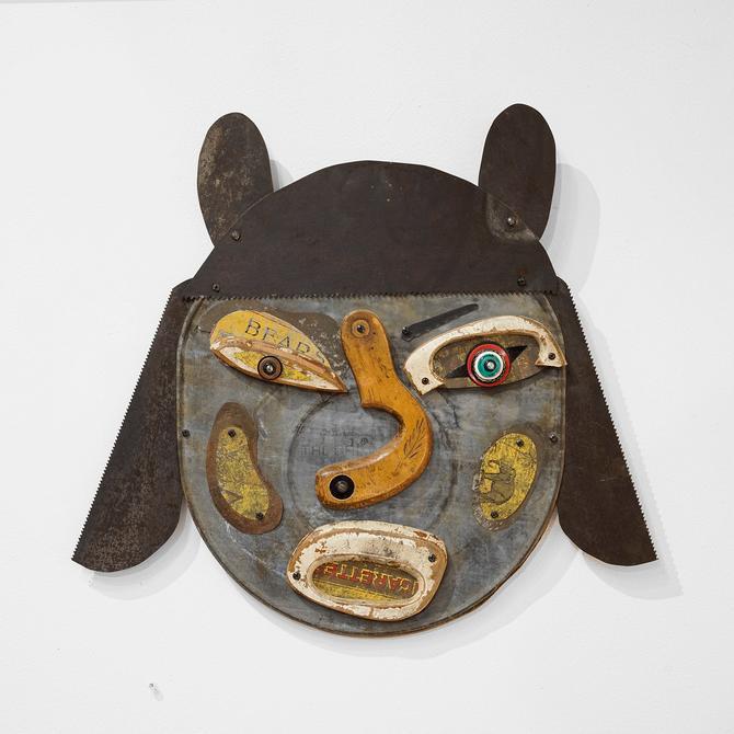 mark brown 'annette on the edge' folk art mask, folk artist, local artist,  assemblage art, americana art, americana, visionary art, mask by pulpholyoke