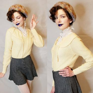 1970s Sweater in Peach Pink Beige Knit / 70s Textured Knit Pullover with Shawl Collar by Kimlon / Medium by RareJuleVintage