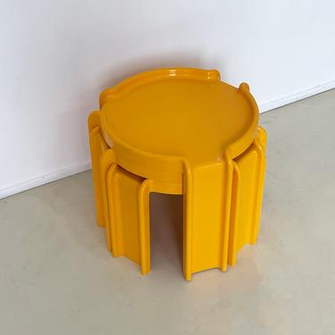 1970s Yellow Kartell Stacking Tables by Giotto Stoppino