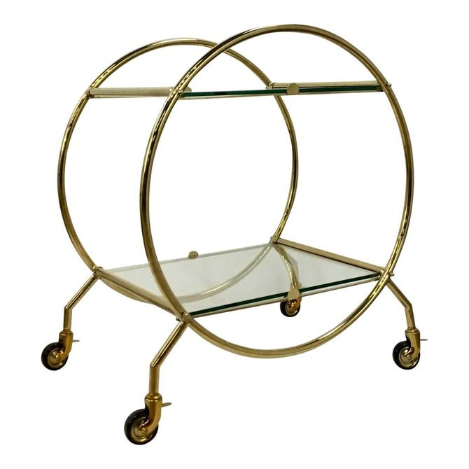 Regina Andrew Modern Art Deco Style Glass and Brass Finished Two-Tier Bar Cart