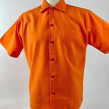 1970'S-80's Bowling Shirt - Vivid Orange - Rayon/Poly Blend - Embroidered Bowler on Collar - Men's Size Medium by GabrielasVintage
