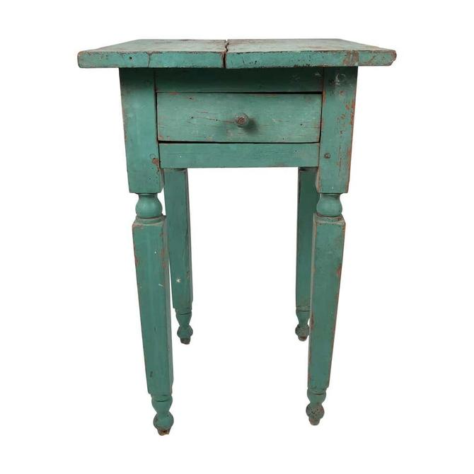 Green Painted Country One-Drawer Occasional Table or Nightstand
