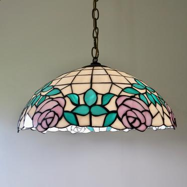 Vintage Stained Glass Chandelier - Stained Glass Pendant Light - Stained Glass Ceiling Light-Pink Green Tiffany Style Lamp - Floral Lamp by SoulfulVintage