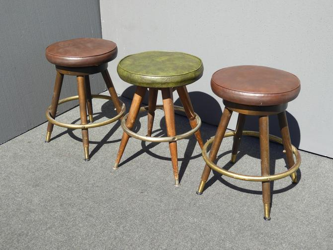 Three Mid Century Brown & Green Vinyl Swivel Counter BAR STOOLS by Calorator by VintageLAfurniture