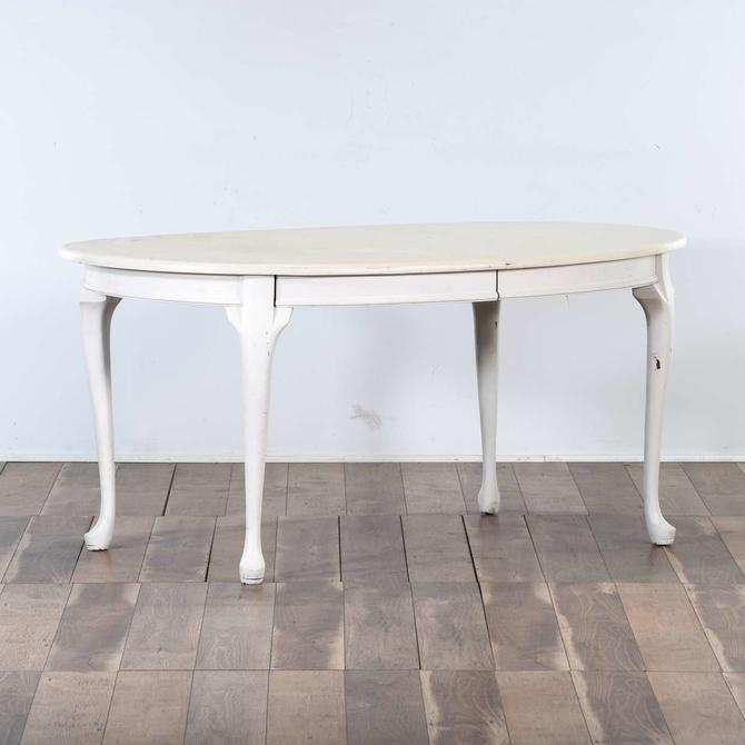 Painted Cottage Chic Queen Anne Dining Table W/ Leaf