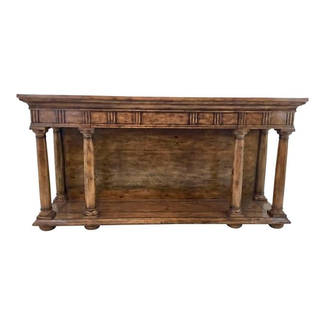 Transitional Thomas & Gray Portico Oak Finished Console Table