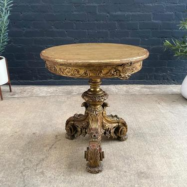 1930's Antique French Carved Guiltwood Table with Gold Leaf by VintageSupplyLA
