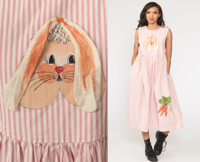 Bunny Jumper Dress Pink Rabbit Dress Striped 90s Midi Hand Painted Vintage Country Kawaii Pinafore Low Armhole Sleeveless Extra Small xs by ShopExile