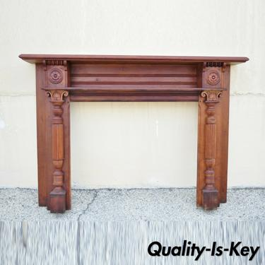 Antique American Victorian Cherry Wood Carved Column Fireplace Mantel Shelf