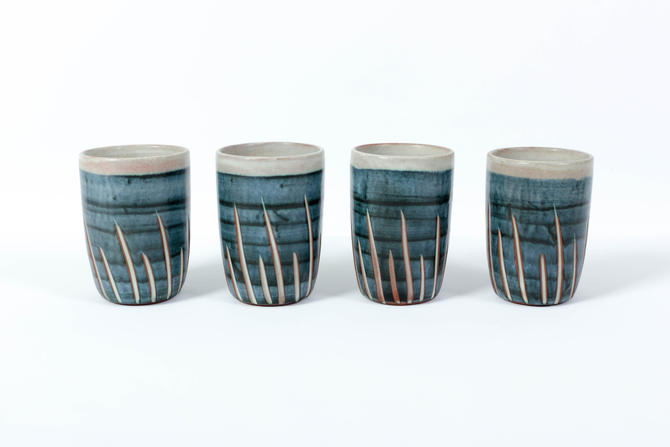 4 Puerto Rican Pottery Blue Tumblers - Vintage Sgraffito Design Terracotta - Hal Lasky Master Ceramist by ThePapers