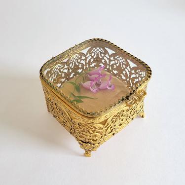 Vintage Ormolu Trinket Box with Gold Velvet, Small Gold Jewelry Casket by CivilizedCrow