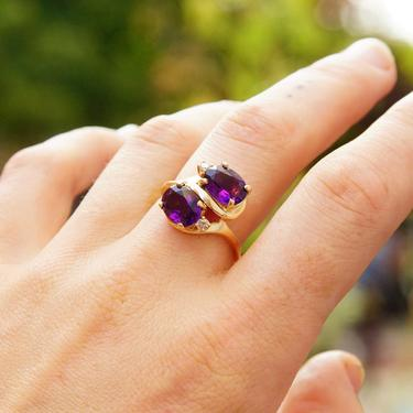 Vintage 14K Gold Amethyst Diamond Ring, Dazzling Faceted Amethyst Gemstones, Accent .04 CT Diamonds, Thin Yellow Gold Band, Size 9 1/4 US by shopGoodsVintage