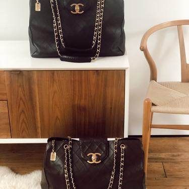 Vintage 90's CHANEL XL Super Model Cosmos CC Turnlock Monogram Logo Black Leather Shoulder Bag Tote Travel Carry All by MoonStoneVintageLA