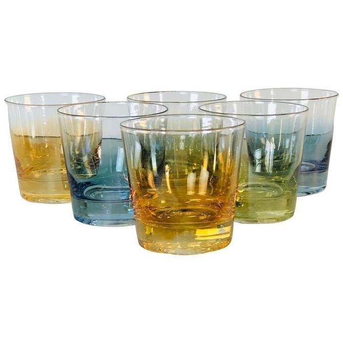 Vintage 1960s Iridescent Multi-Colored Glass Bar Tumblers, Set of 6 by 2bModern