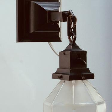 Single Arts and Crafts Wall Sconce with Hexagonal Shade  #2057 by vintagefilament