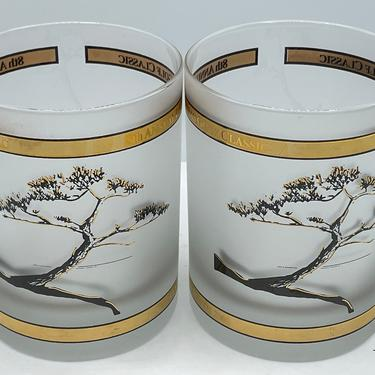 Vintage Set of two Torrey Pines golf tournament frosted Whiskey Gold  glass Las Duenas by JoAnntiques