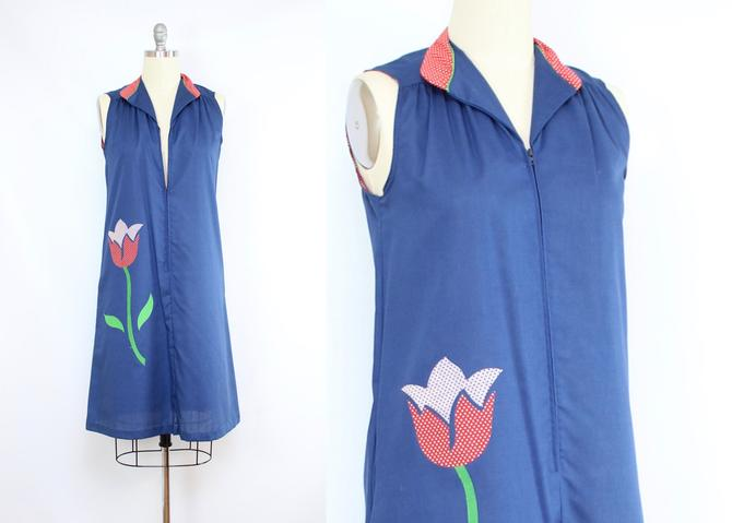 Vintage 70's Tulip Patch Tent Dress / 1970's Maternity Dress / Floral Zip Front Dress / Women's Size Medium by RubyThreadsVintage