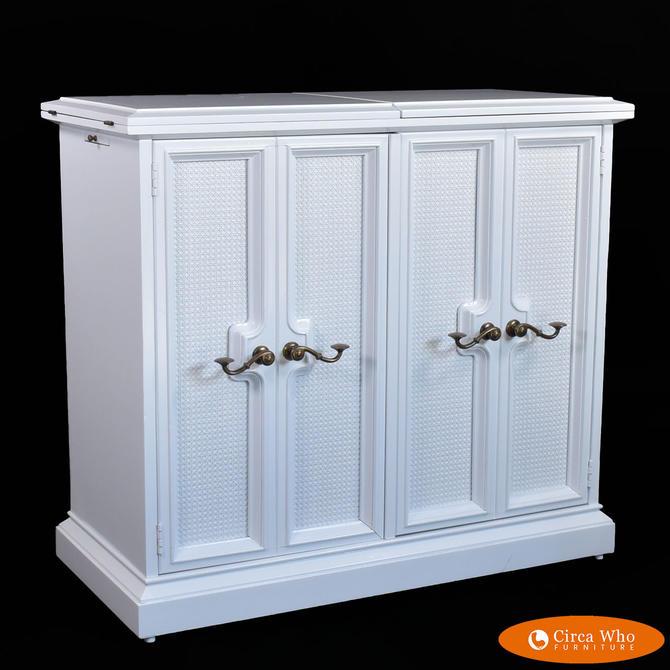 White Woven Rattan Server