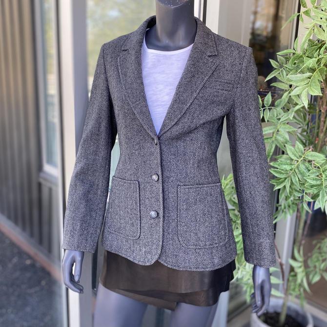 PENDLETON Vintage 1970s 100% Virgin Wool Women's 3-Button Herringbone Blazer Jacket - Gray - Size 12 by AIDSActionCommittee