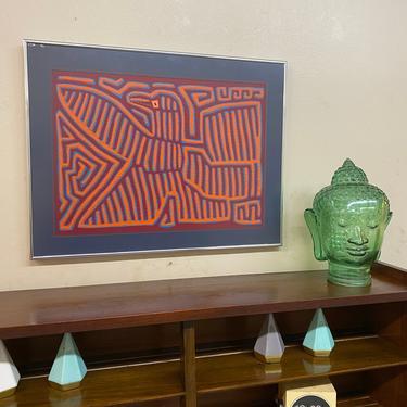 Mid Century Phoenix Fabric Wall Art, 1970s Vintage Art, 1970s Home Decor, Textile Wall Art by VivaLaVintagedotTX