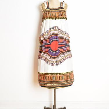 vintage 70s dress white cotton dashiki batik print boho hippie babydoll midi M L clothing by huncamuncavintage