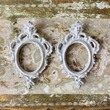 pair white washed florentine frames - tiny portrait cottage wall decor by ionesAttic