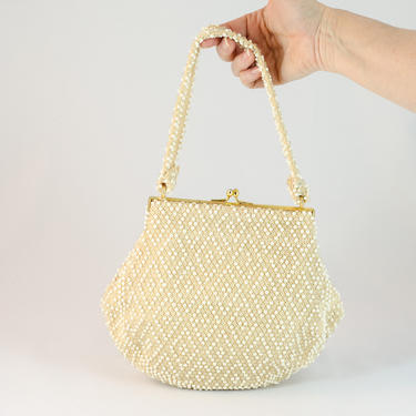 1950s Vintage Purse - Corde Cream Colored Bead Purse with Cream and White Beading by DomesticatedPinup