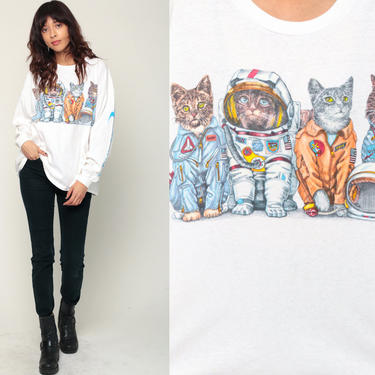 Space Shirt CAT ASTRONAUT Kennedy Space Center Florida T Shirt NASA Original Vintage Tshirt 90s Graphic Tee Long Sleeve Extra Large xl 2xl by ShopExile