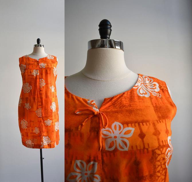 Vintage Orange Hawaiian Kaftan Dress by milkandice