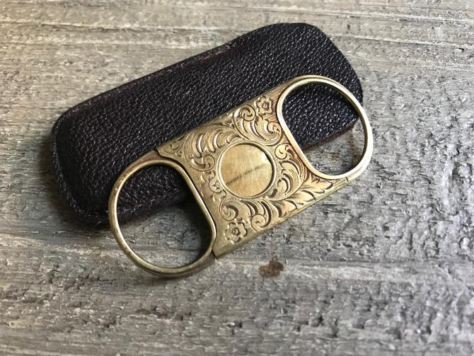 Antique 14K Gold Cigar Cutter, Chased Floral Scroll Design, Leather Case, Signed Hallmark, Edwardian Era by JansVintageStuff