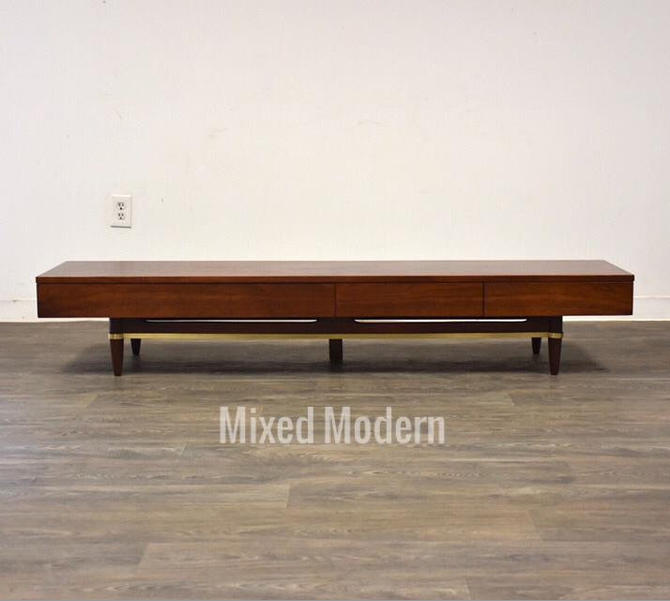 American of Martinsville Walnut Low TV Console Table by mixedmodern1