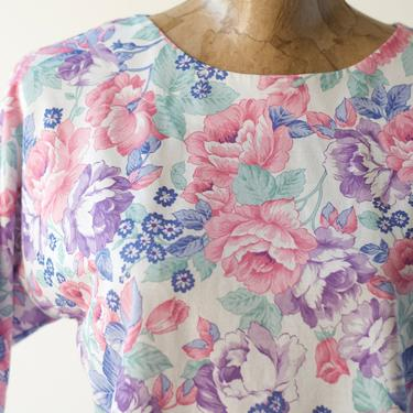 80s Vintage PINK & PURPLE Floral Blouse, All Over Print Roses Crop Top Short Sleeve Shirt Scoop Neckline Wide Lightweight Boxy New Wave Tee by MOBIUSMOD