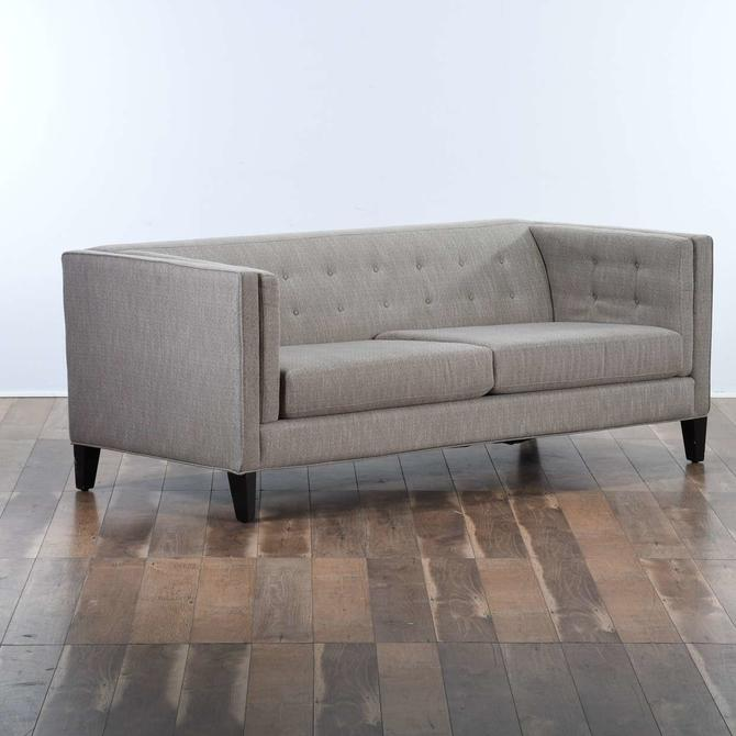 Contemporary Tufted Back Gray Sofa