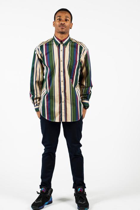 0425f19540 Vintage 90s Tommy Hilfiger Striped Button Up Shirt Sz L by ...