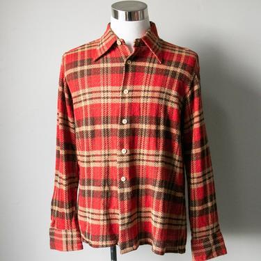 1960s Men's Shirt Plaid Button Up L by dejavintageboutique