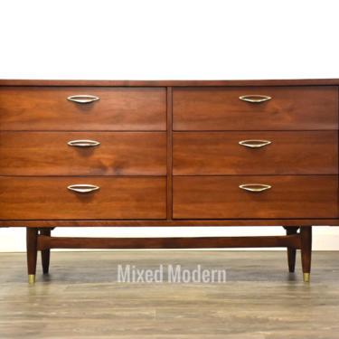 Walnut & Brass MCM Dresser by mixedmodern1