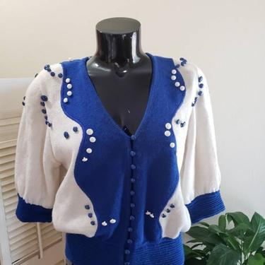 Vintage 80s Umi Collection Anne Crimmins Sweater w/ BUTTONS L by FlashbackATX