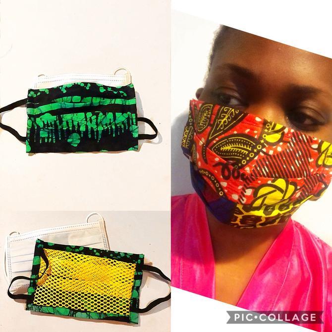 Protective face mask, Ankara print, Batik prints, 100% Cotton by PriscArts