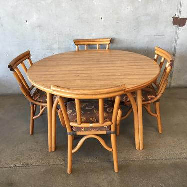 Vintage Bamboo Table Set With Four Chairs