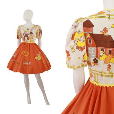 1960s Fall Novelty Print Dress - Farm Novelty Print Dress - Animal Novelty Print Dress - Vintage Novelty Print Dress | Size Medium / Large by VeraciousVintageCo