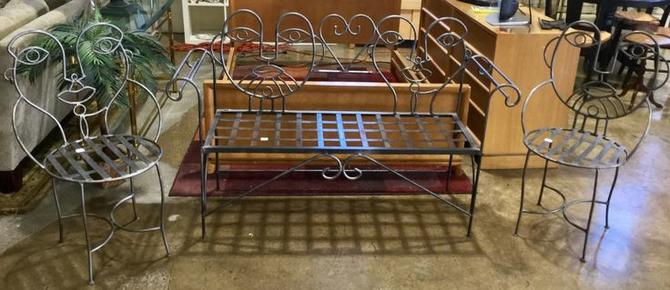 Unique metal chairs and bench available at Habitat for Humanity Restore Rockville for $450.00 (sold as a set)