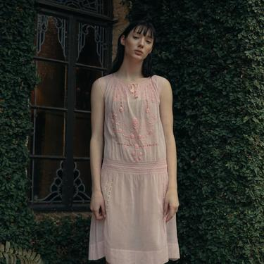 RARE 1920s baby pink embroidered hungarian dress smocked day dress OOAK by DevoreVintage